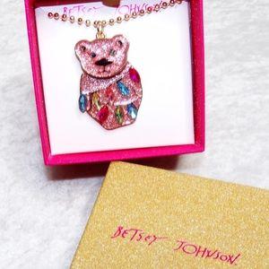 Betsey Johnson Pink Glitter Polar Bear Necklace